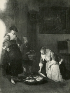 Fish seller and a servant in an interior with a young woman picking fish