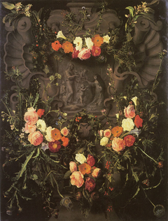 Flower garland with Saint Catherine