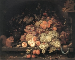 Fruit still life with goldfinch and squirrel