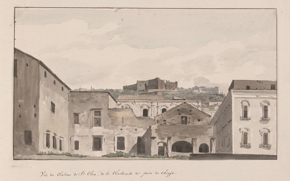 Gezicht op Castel Sant'Elmo en Castel Nuovo vanaf  havenhoofd te Napels