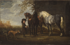 Groom with Three Horses and Two Dogs