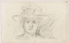 Hoofd van een vrouw met een hoed