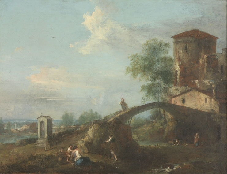 Ideal Landscape with Figures and Bridge