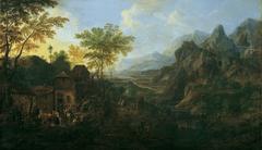 Ideale Landschaft mit Bauernkirmes