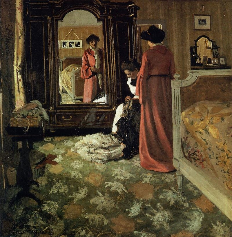 Interior, Bedroom with Two Figures