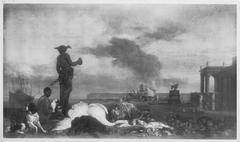 Jagdbeutestillleben auf der Mole eines Seehafens