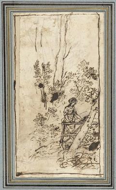 Jonge vrouw staande bij een hek in een bos