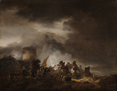 Kampf zwischen Reitern und Fußvolk vor einer Befestigungsanlage