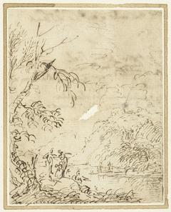 Krijgslieden met lansen in een landschap