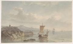Kustlandschap met haven en schepen op het water