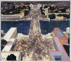 La colline de Chaillot pendant l'exposition Internationale de 1937, vue de la Tour Eiffel