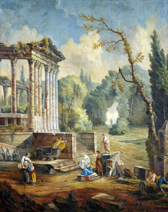 Landscape with Temple Ruin and People Listening to an Orator