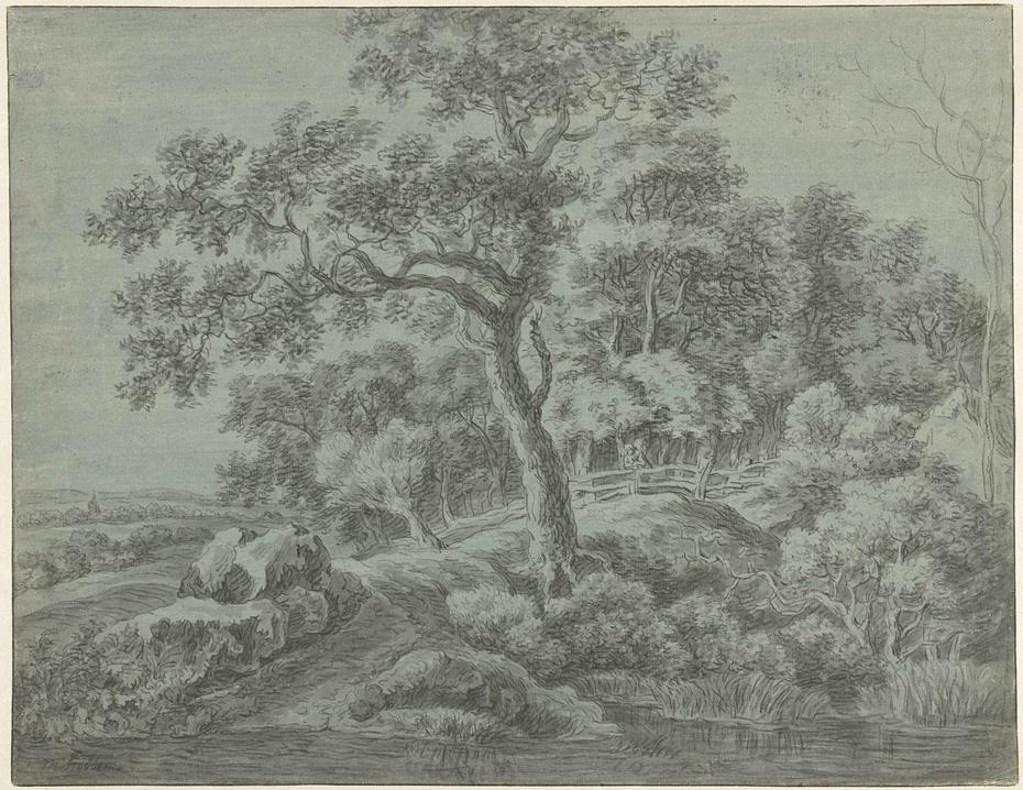 Landschap met bomen aan water