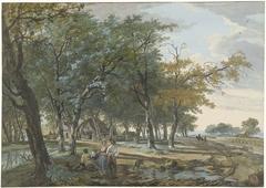 Landschap met een huis tussen bomen en een weg langs akkers