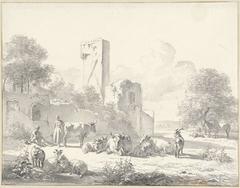 Landschap met vee en ruïne