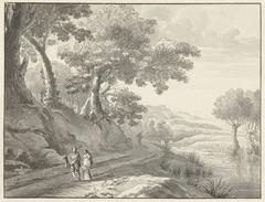 Landschap met wandelaars op een weg langs water