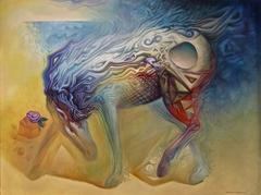 LASTING AIGAIOS «Aegean» MYTH  – ΠΟΤΕΙΔΑΝ - ΔΙΑΡΚΗΣ ΑΙΓΑΙΟΣ ΜΥΘΟΣ (ἐλαιογραφία) 90Χ120 , 2016.