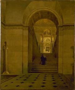 Le grand escalier du Louvre, vers 1840