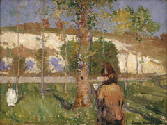 Madame Sisley on the banks of the Loing ...