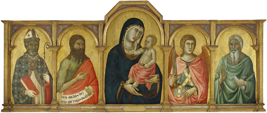 Madonna and Christ Child with a Bishop Saint, Saint John the Baptist, Saint Michael and an Unidentified Saint