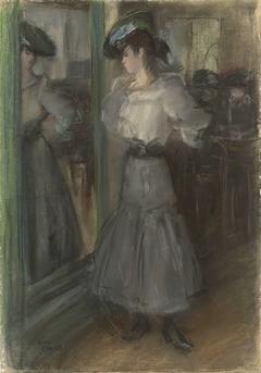 Meisje voor een spiegel