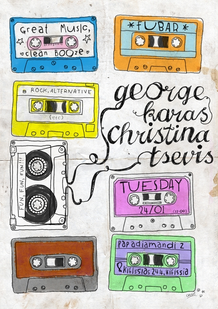 Mix tapes party poster
