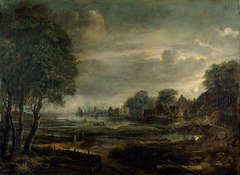 Moonlight Landscape with village