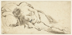 Nude Woman Resting on a Cushion
