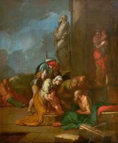 Nymphe Liriope bringt ihren Sohn Narcissus zu Tiresias