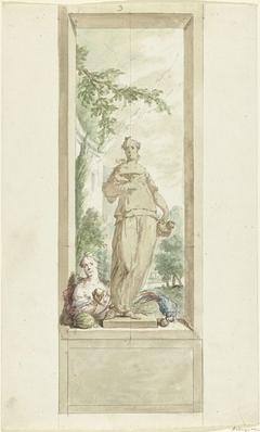 Ontwerp voor een zaalstuk: standbeeld van zintuig Smaak, daarnaast een vrouw en papegaai met vruchten