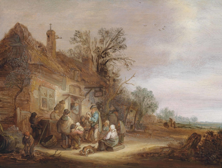 Peasants and musicians outside a tavern
