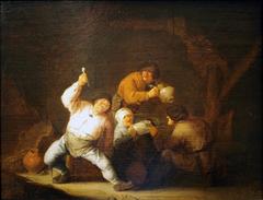 Peasants singing in a barn