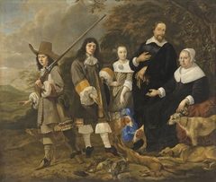 Portrait of a family returning from a hunt