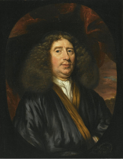 Portrait of a gentleman wearing a dark blue coat with a white chemise