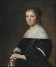 Portrait of a Lady holding a Rose