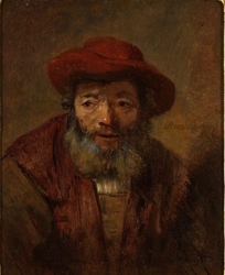 Portrait of an Old Man with a Beard and Red Hat