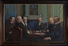 """Portret van """"Het bestuur van het Heilige Geesthuis in 1899"""""""
