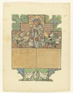 Reinaert met een brief bij Canteclaer en zijn gezin