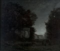 Romantisches Schloß bei Mondschein