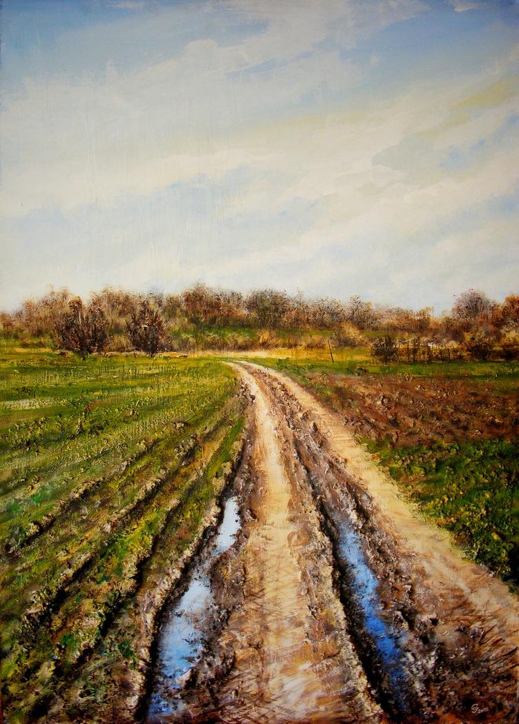 Rural road in early spring