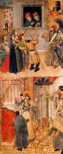 Saint Sebastian speaking to Marcus and Marcellian and Saint Sebastian and Saint Polycarp destroying Idols