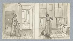 Schets van vrouw met kind en schets van vegende of dweilende vrouw
