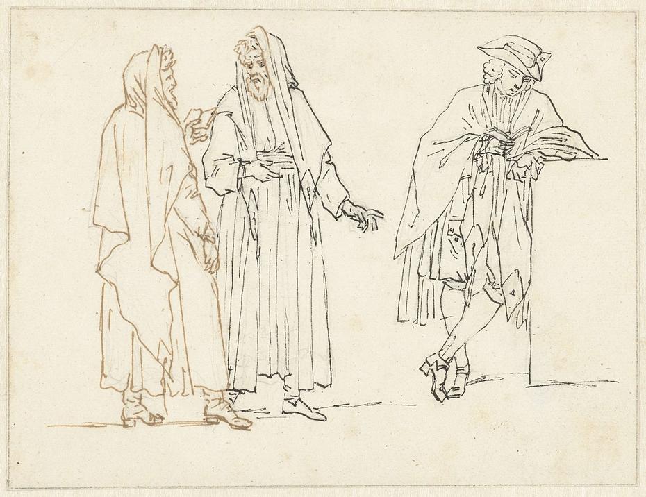 Schetsen van twee staande mannen en een lezende man