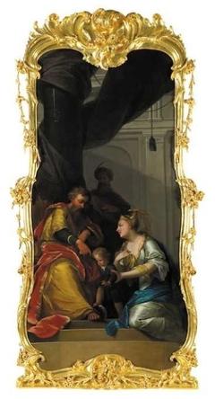 Schoorsteenstuk met voorstelling van Mozes die op de kroon van de Farao trapt (naar Flavius Josephus)
