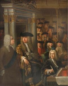 Speaker Arthur Onslow calling upon Sir Robert Walpole to speak in the House of Commons