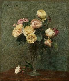 Still Life: Roses in a Glass Vase