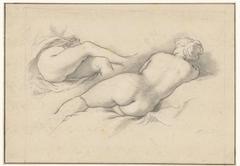 Studies van een liggend vrouwelijk naakt