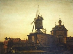 The Old Oostpoort Gate and Windmill near Rotterdam