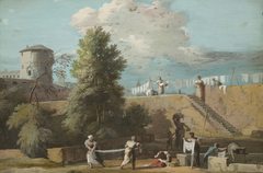 The Outskirts of a Town with Women Washing Linen