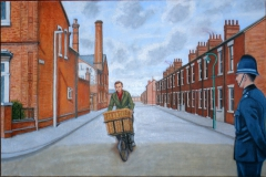 The Paperboy and the Policeman (2013) oil on linen, 71 x 107 cm